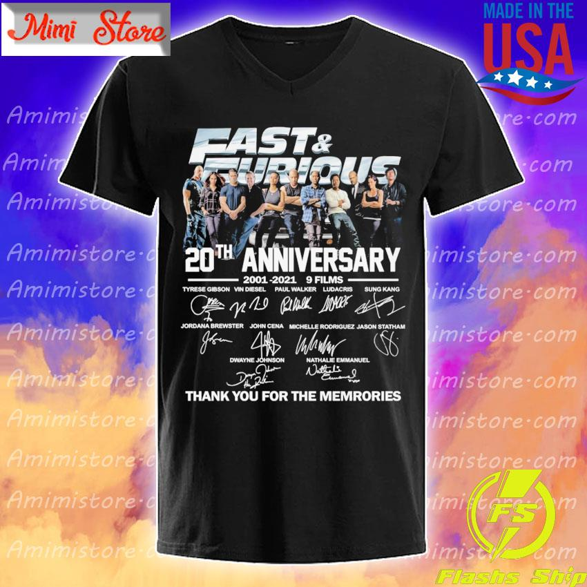 Official Fast and Furious 20th anniversary 2001 2021 9 Films thank you for the memories signatures shirt