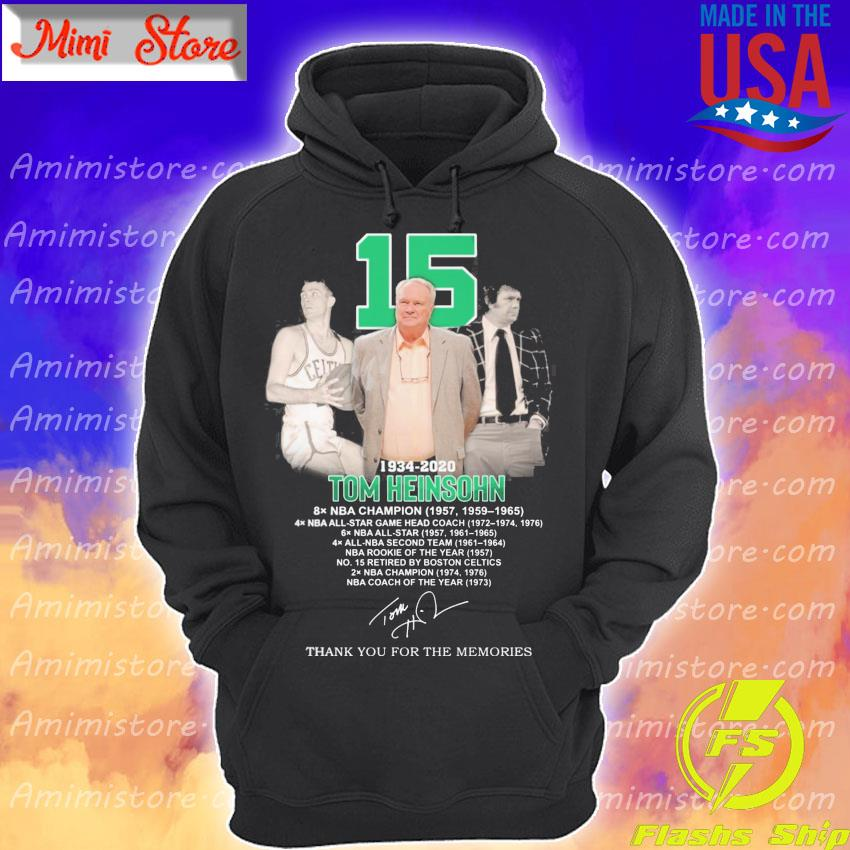 15 Tom Heinsohn 1934 2020 thank you for the memories signature s Hoodie