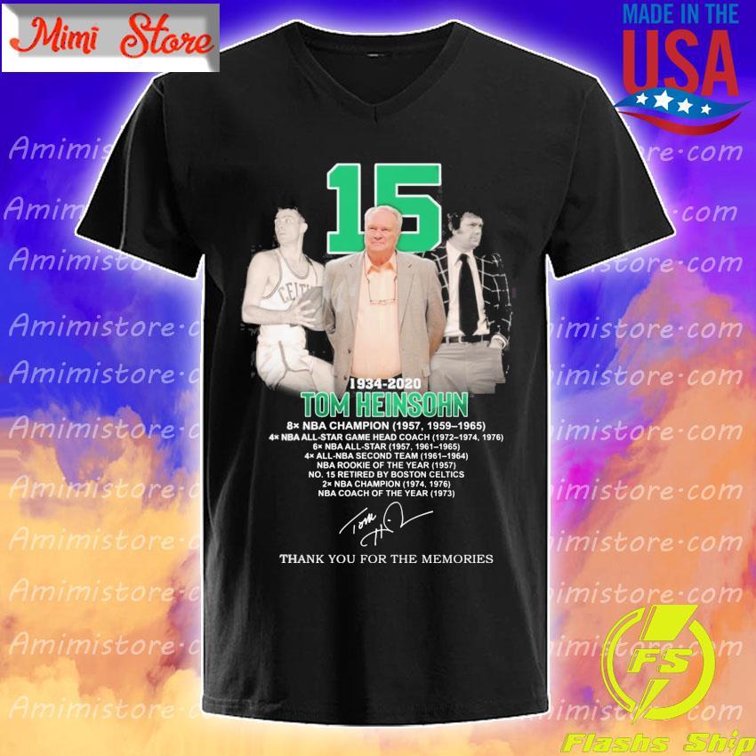 15 Tom Heinsohn 1934 2020 thank you for the memories signature shirt