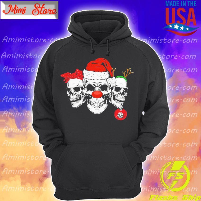 Cool Skull Santa Christmas Holiday Retro Shirt Hoodie