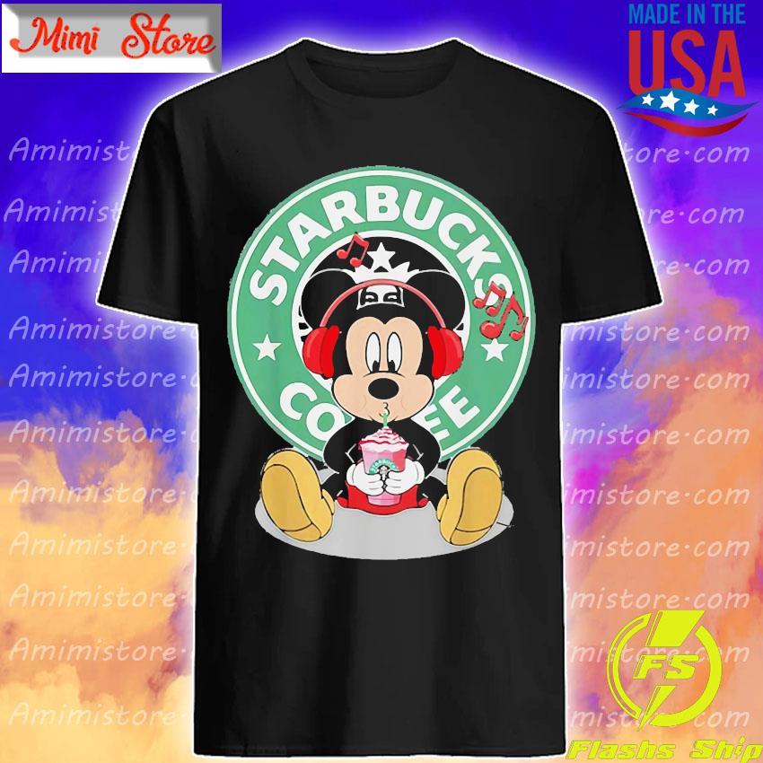 Mickey Mouse Listen To Music Starbucks Coffee Shirt Shirt