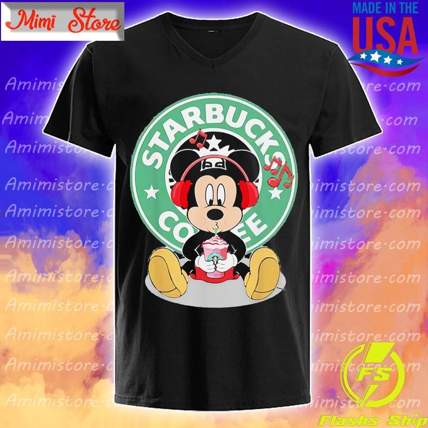 Mickey Mouse Listen To Music Starbucks Coffee Shirt