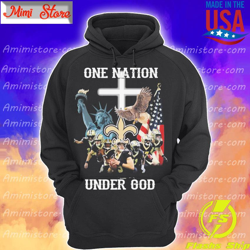 Official New Orleans Saints one nation under god American flag s Hoodie