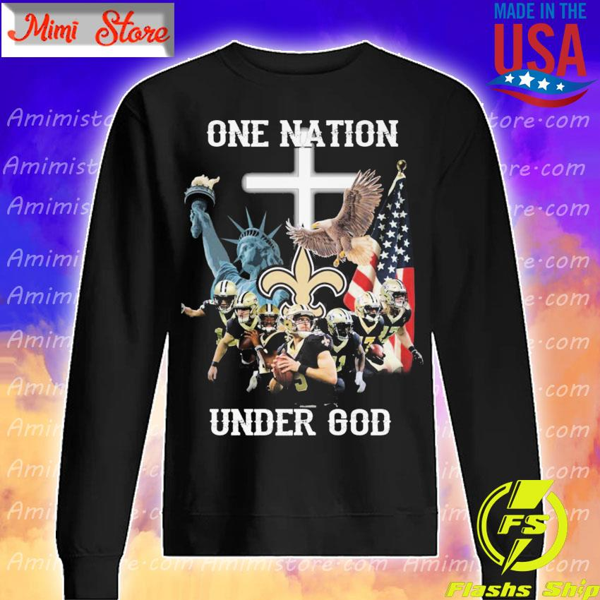 Official New Orleans Saints one nation under god American flag s Sweatshirt