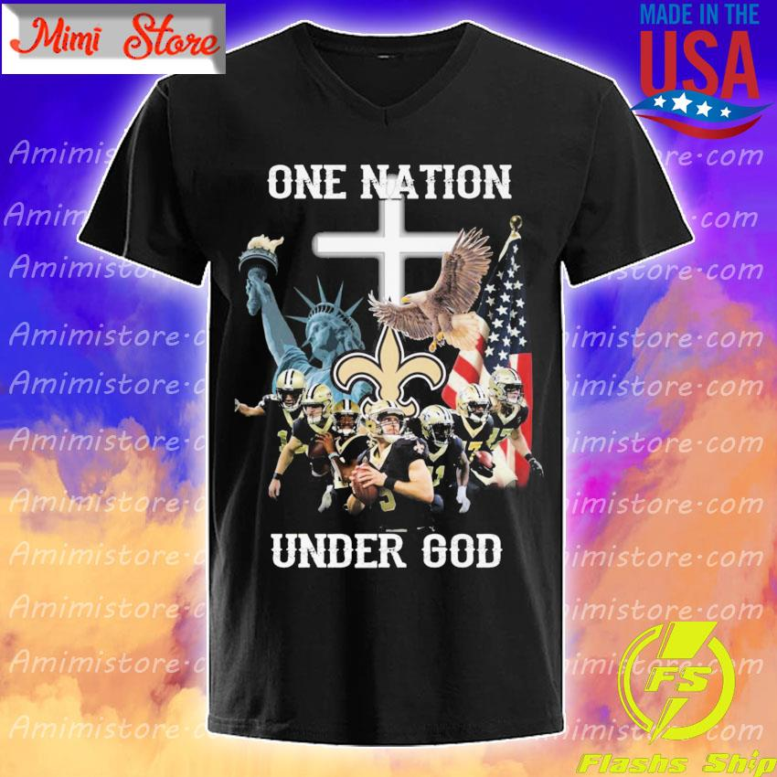 Official New Orleans Saints one nation under god American flag shirt