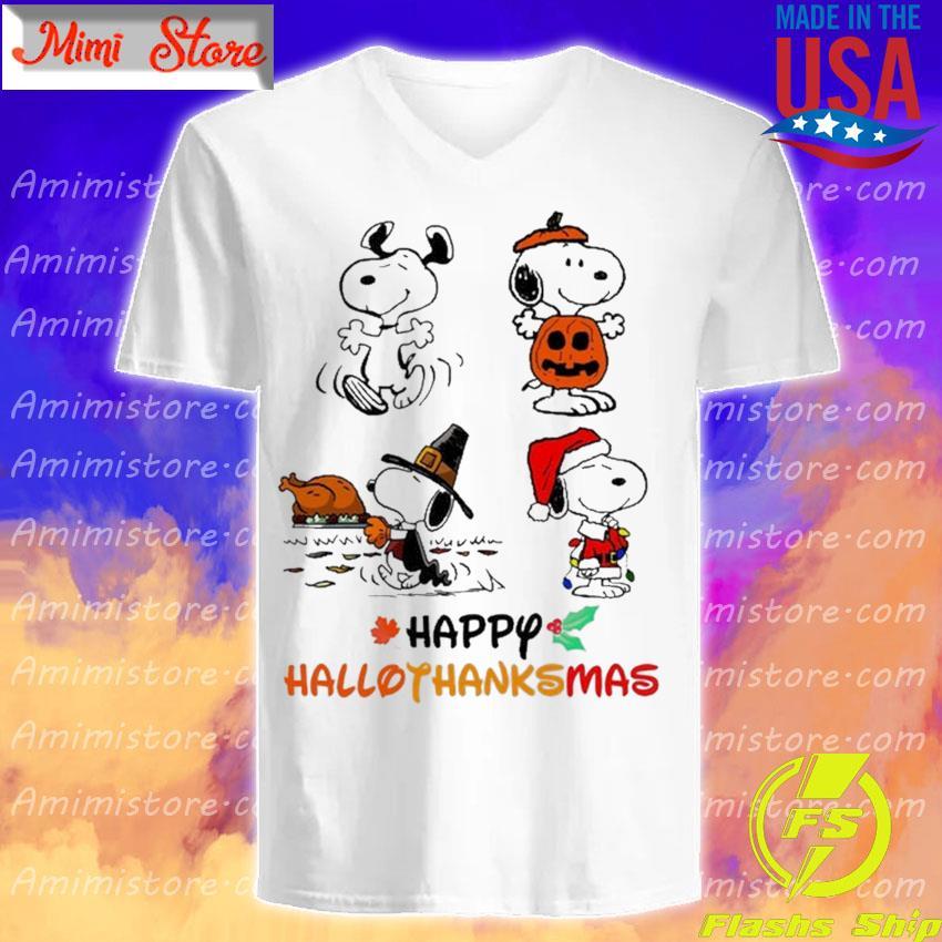 Snoopy happy Hallothanksmas Merry Christmas s V-Neck